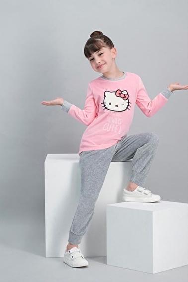 Hello Kitty Hello Kitty Lisanslı Açık Pembe Kız Çocuk Kadife Pijama Takımı Pembe